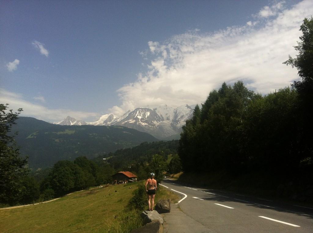 Biking the Alps, view on Mont Blanc