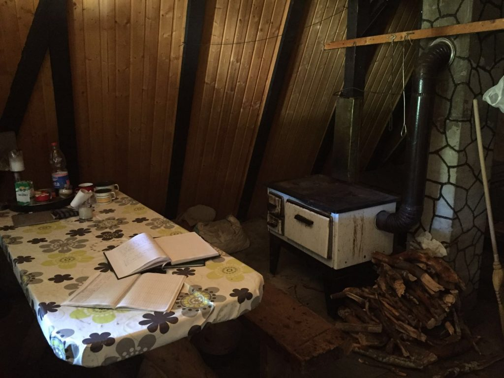 In the hut, Struge inside