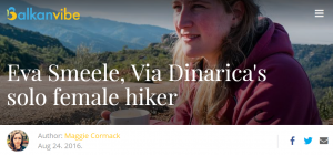 Eva Smeele in de media: interview balkanvibe via dinarica hike