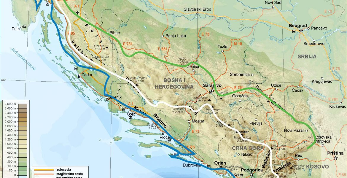 PAGE | MAP of the Via Dinarica White, Green and Blue trail