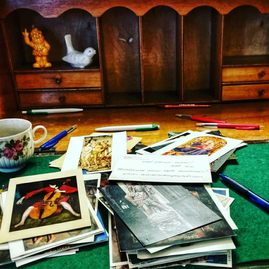Writing art cards and giving away my books