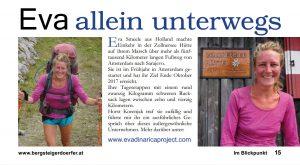 Eva Smeele in de media - artikel het Oostenrijkse Bergsteigerdoerfer