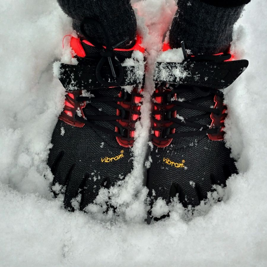 Wandlen op FiveFingers in de winter