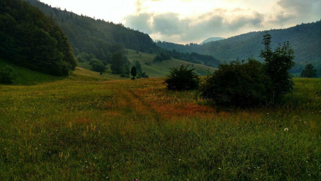 Predov krst met een paadje over het veld | Via Dinarica in Servië