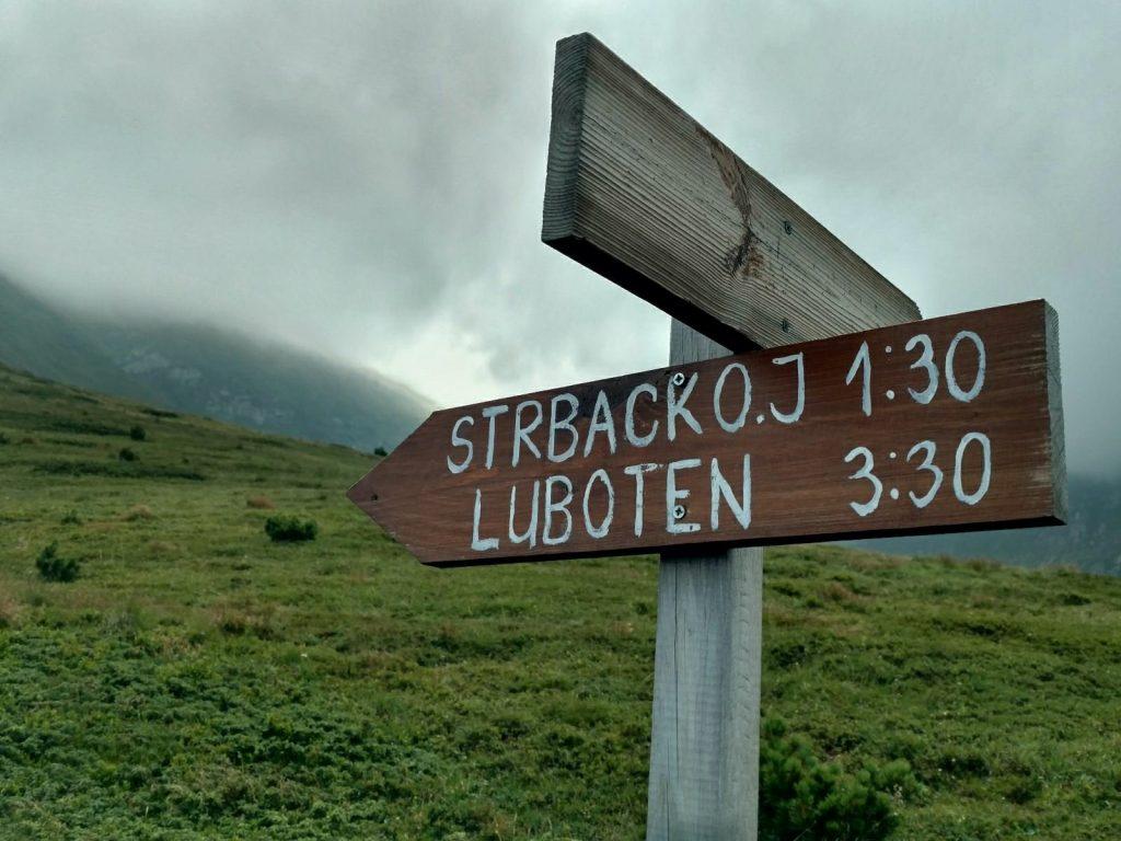 De route naar Ljuboten en Strbačko jezero