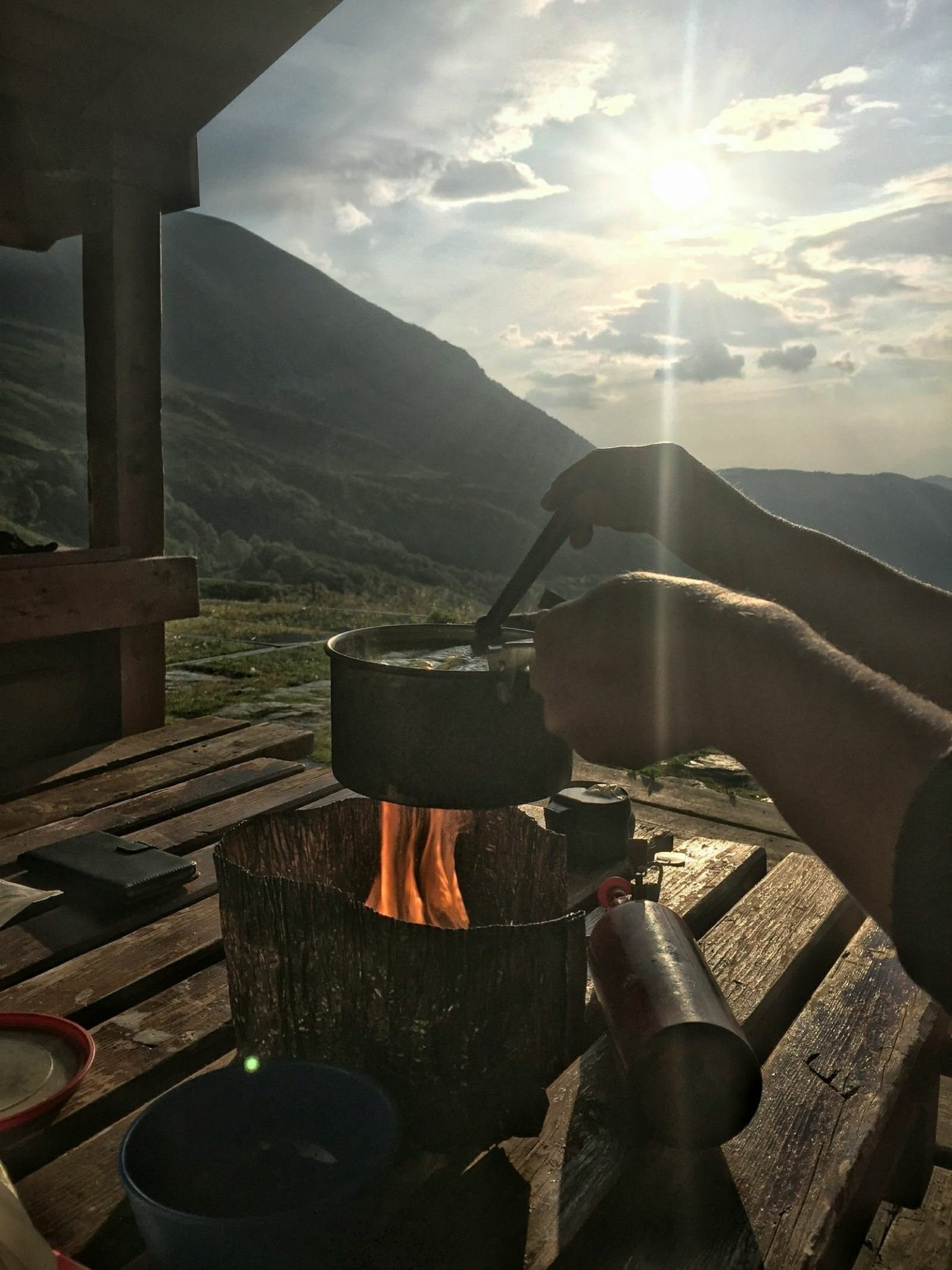 Camping cooking on Shar Mountain