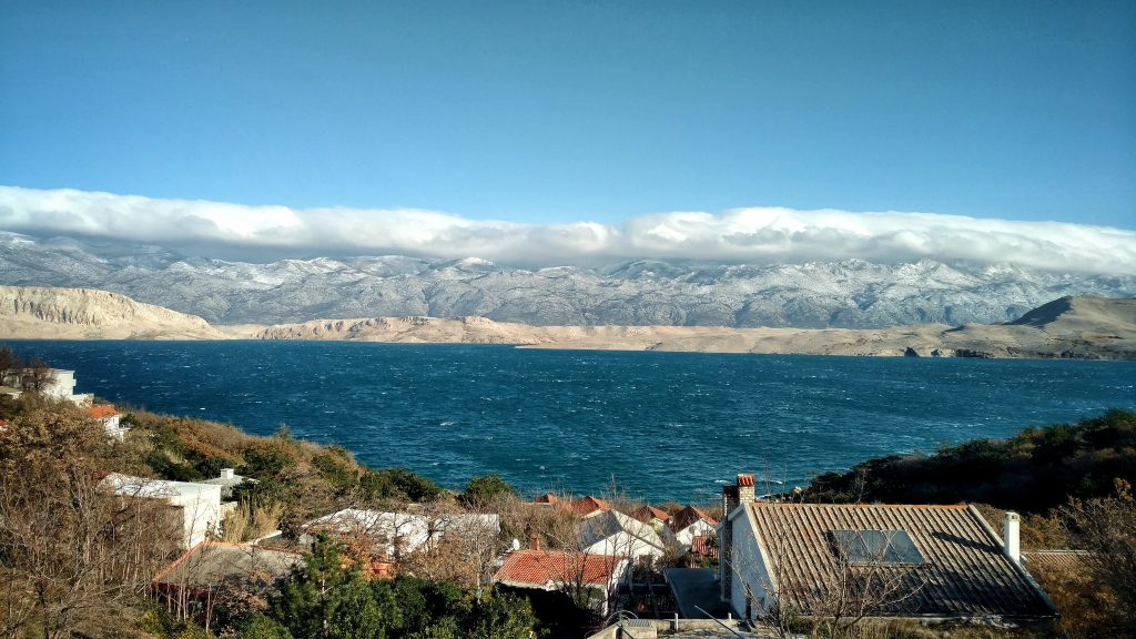 View on Velebit for the Island of Pag