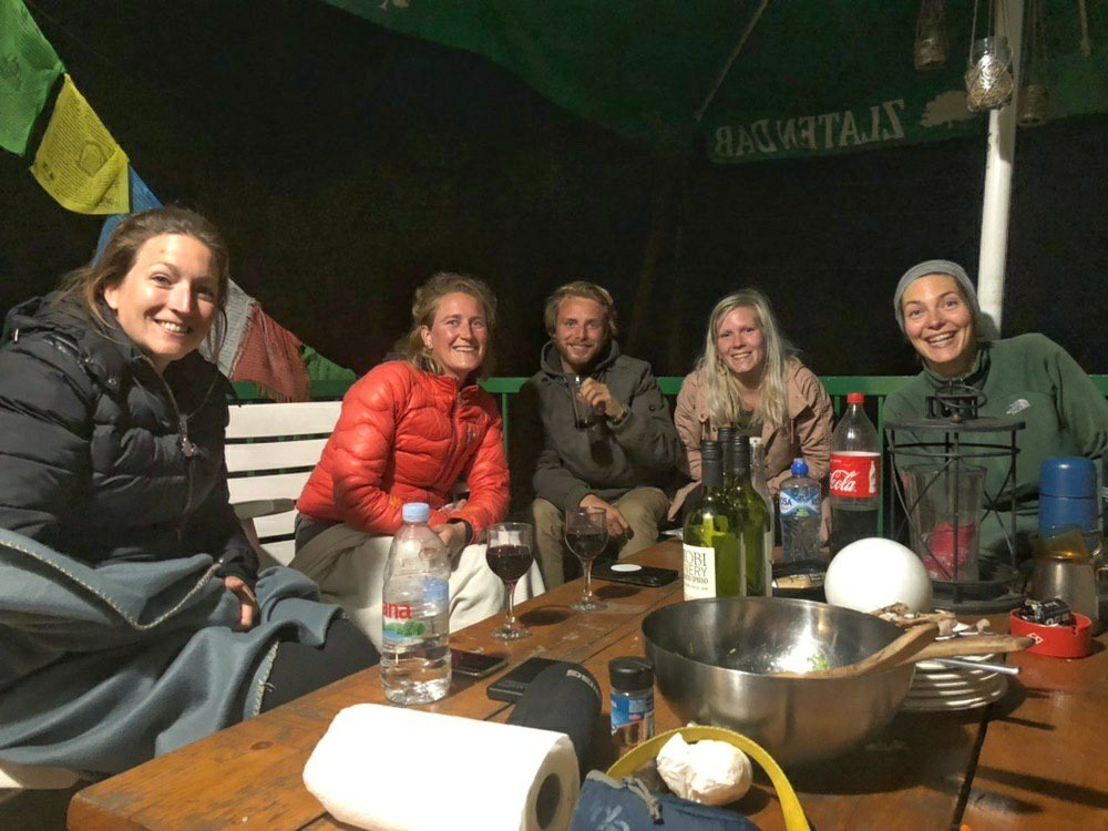 Evening with guests in Ski Hut Gorica, Mavrovi Anovi